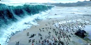 Ausschnitt aus dem Film Exodus - Nicht mal Hollywood hat es geschafft, die Hebräer tatsächlich durchs Meer ziehen zu lassen; im Film flüchten sie noch vor dem eigentlichen Durchzug auf die Berge (immer noch auf ägyptischem Territorium)